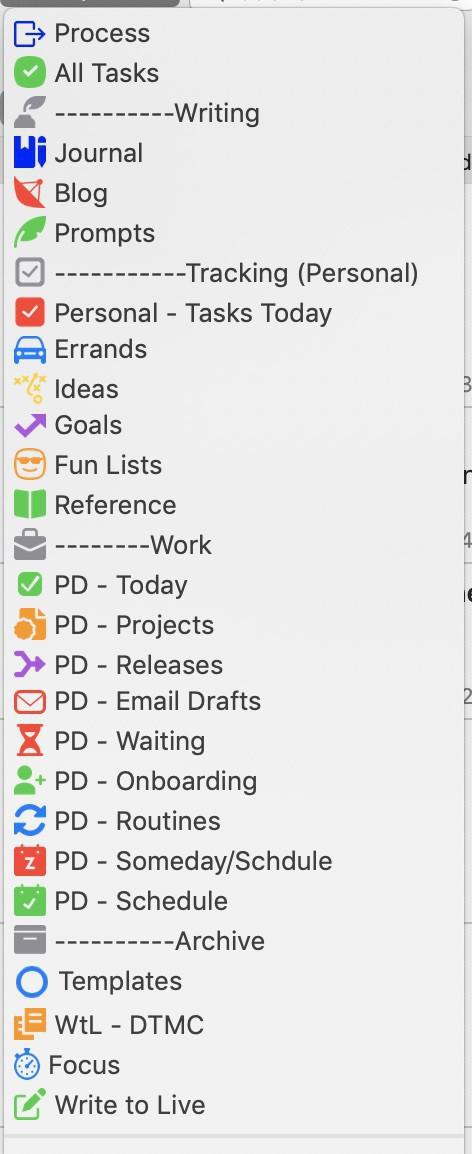 List of Workspaces in Drafts